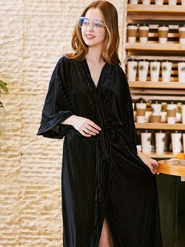 Ericdress Thin Loose Velvet Lace-Up Robe for Women