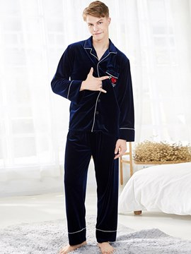 Ericdress Men's Gold Velvet Lapel Single-Breasted Pajamas Set