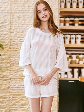 Ericdress Plain Casual Half Sleeve Shorts Sleepwear