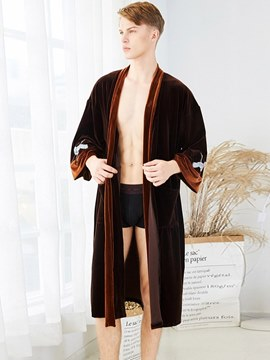 Ericdress Velvet Long Simple Lover Robe for Men