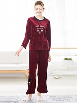 Ericdress Women's Round Neck Animal Letter Pajamas Set