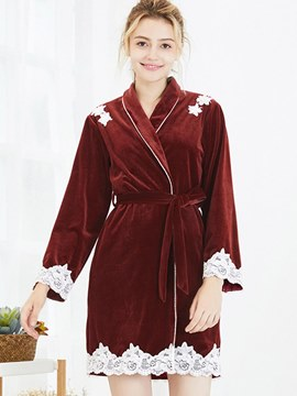 Ericdress Velvet Lace Long Sleeve Mid-Length Robe for Women