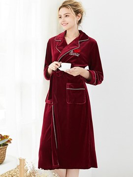 Ericdress Velvet Pocket Lace-up Long Robe for Women
