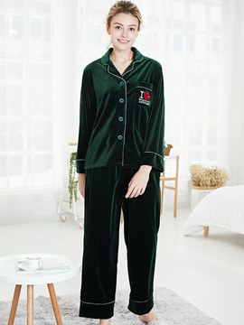 Ericdress Gold Velvet Print Casual Letter Long Pajamas Set