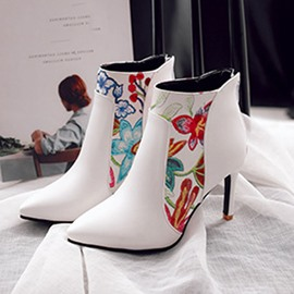 Ericdress Floral Back Zip Stiletto Heel Women's Ankle Boots