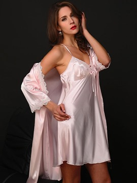 Ericdress Lace-Up V-Neck Sexy Robe and Nightgown 2 Pieces