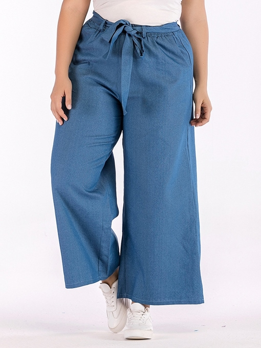 Ericdress Plus Size Loose Plain Belt Wide Legs Casual Pants