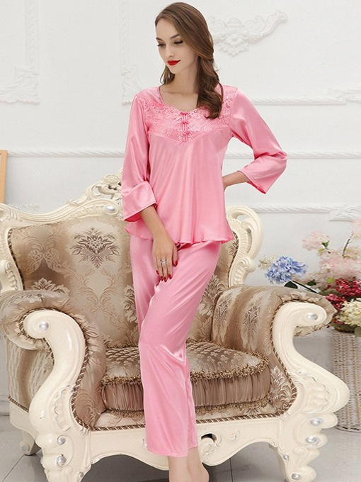 Ericdress Bowknot Pullover Plain Sleepwear 2 Pieces
