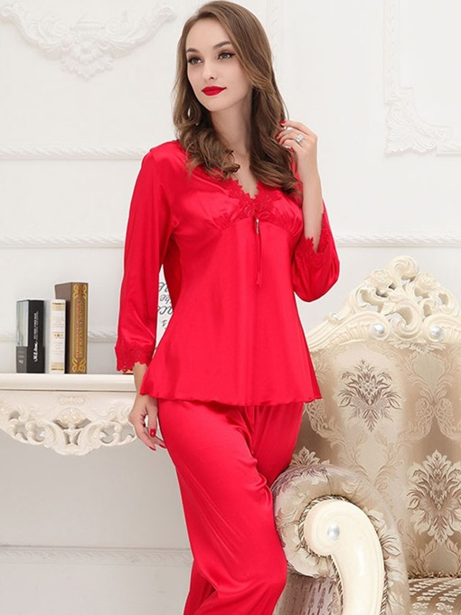Ericdress Women's V-Neck Plain Long Sleepwear 2 Pieces