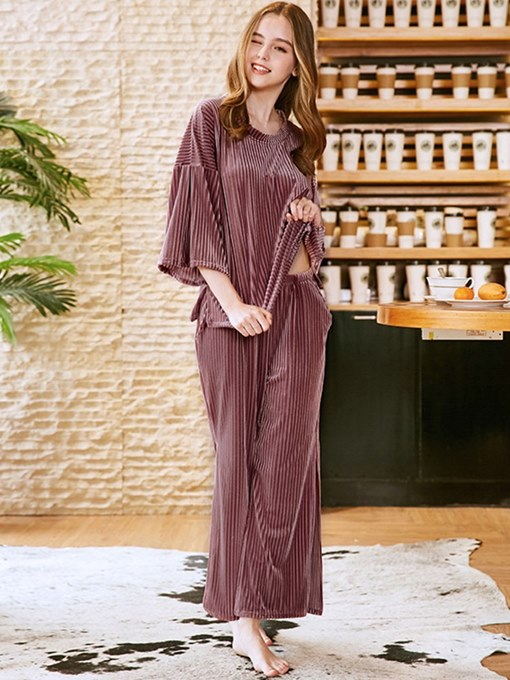 Ericdress Velvet Plain Casual Loose Long Sleepwear