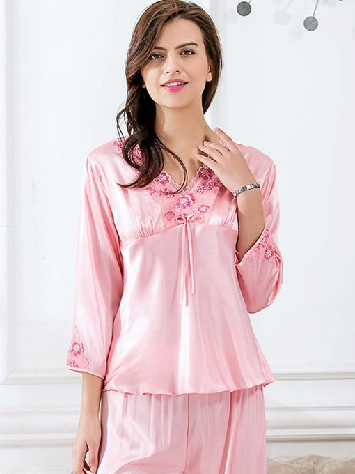 Ericdress V-Neck Print Floral Three-Quarter Sleeve Pajama Suit