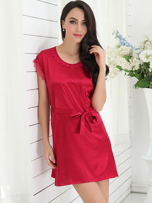 Ericdress Plain Simple Round Neck Short Nightgown