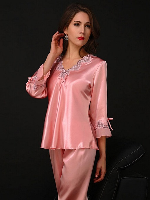 Ericdress Bowknot V-Neck Long Sleepwear 2 Pieces