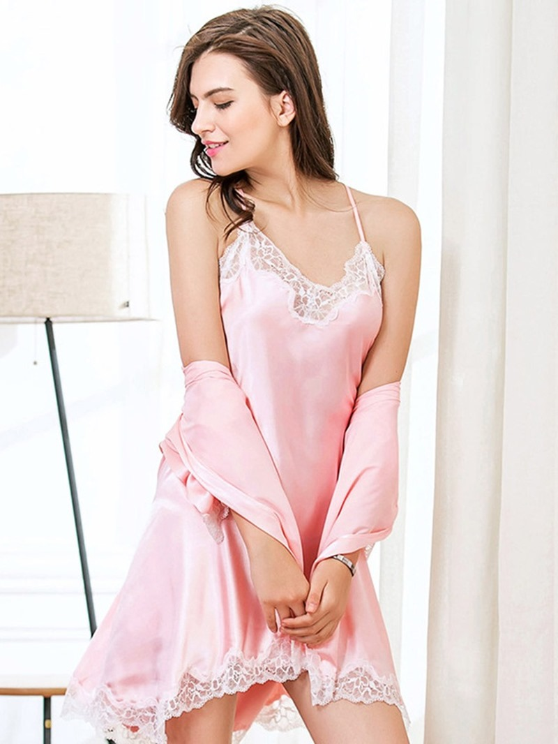 Ericdress Lace Sexy Lace-Up Plain Sleepwear 2 Pieces