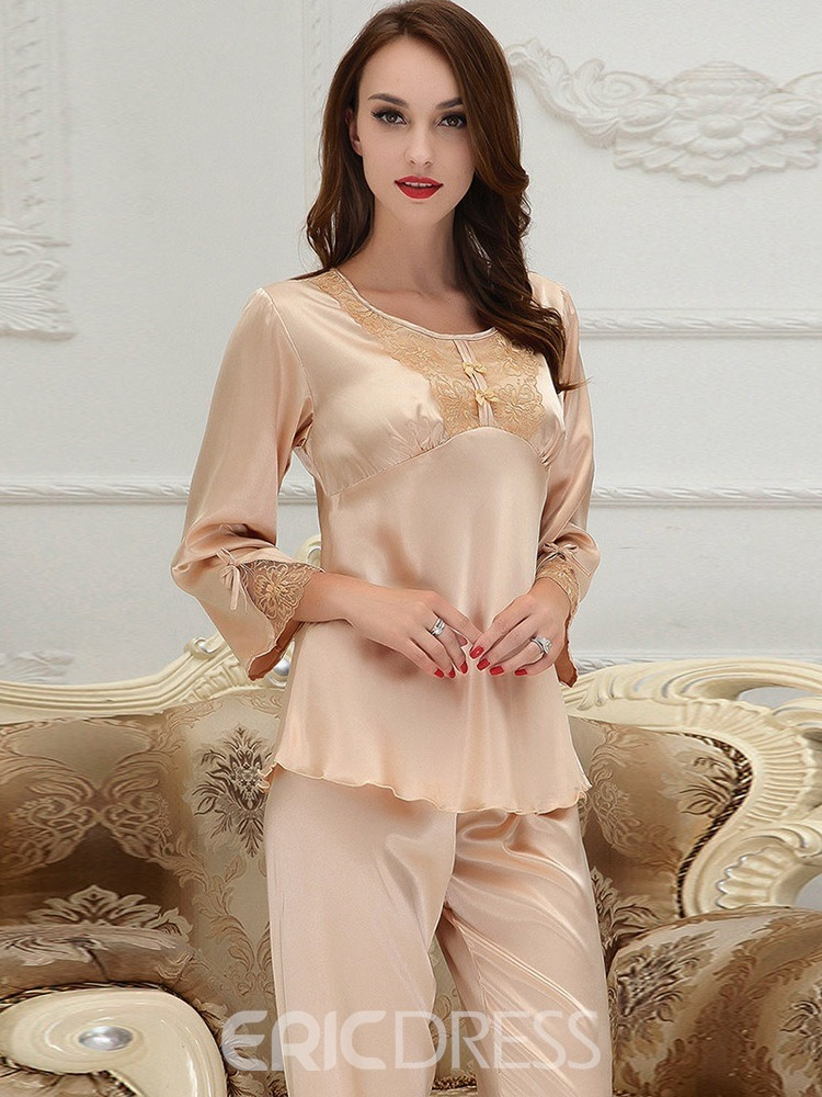 Ericdress Bowknot Round Neck Mid-Calf Sleepwear 2 Pieces
