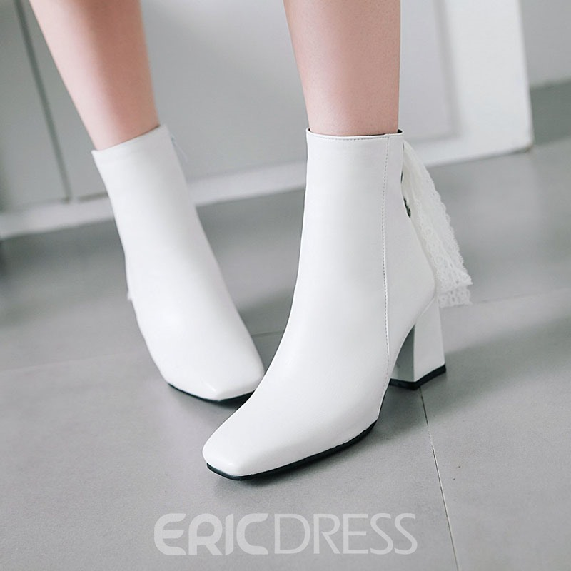 Ericdress PU Square Toe Chunky Heel Women's Ankle Boots