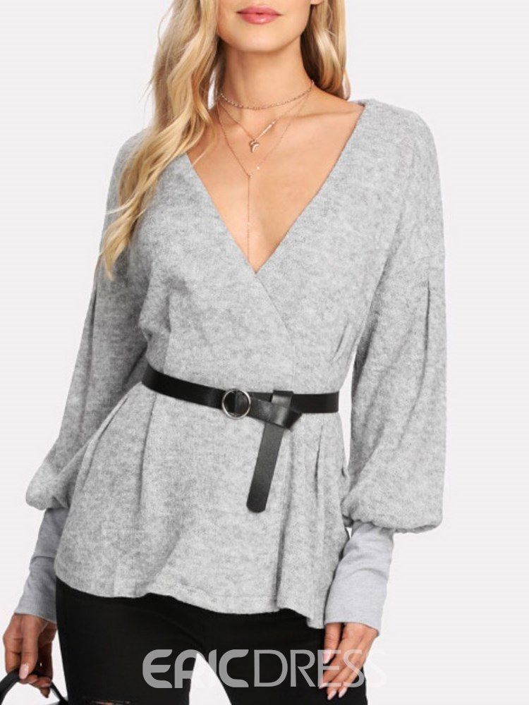 Ericdress Loose V-Neck Belt Casual Knitwear