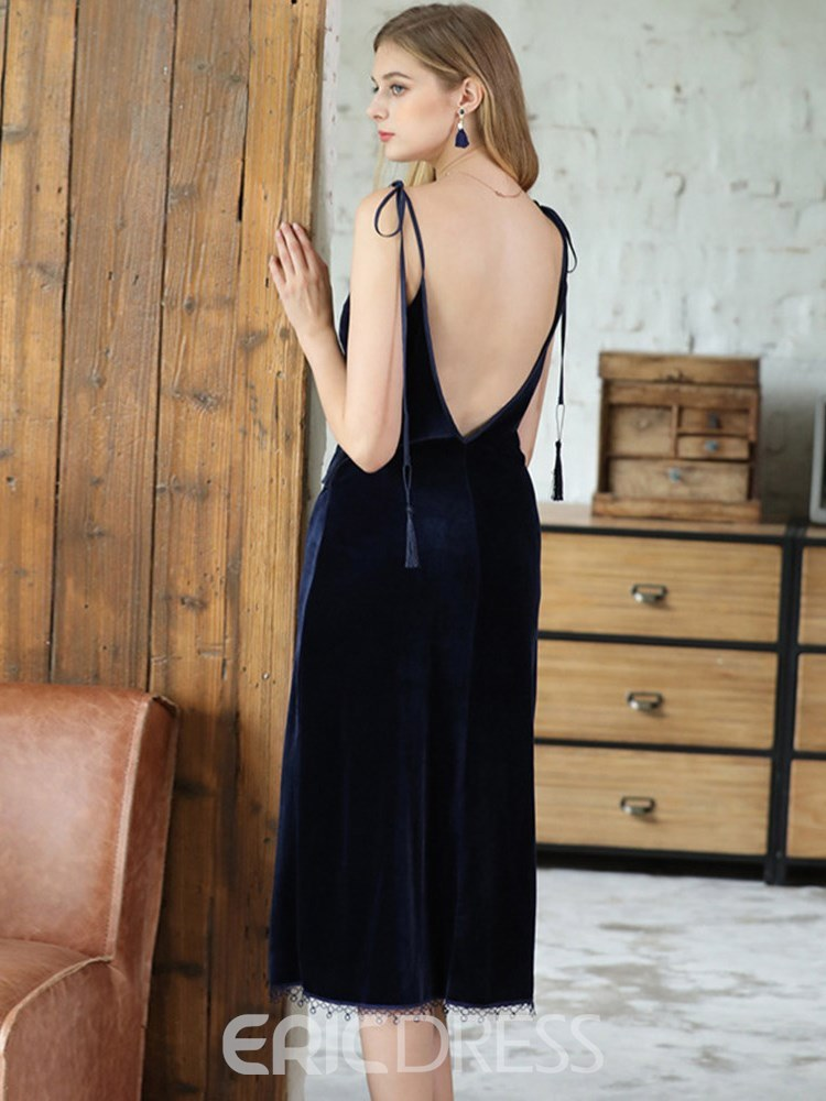 Ericdress V-Neck Backless Split Lace-up Nightgown