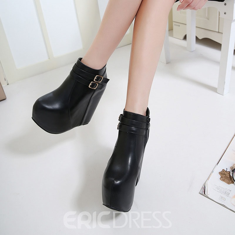 Ericdress PU Side Zipper Wedge Heel Women's Ankle Boots