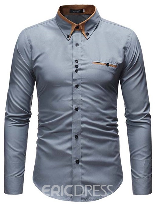 Ericdress Plain Button Down Slim Patchwork Mens Casual Dress Shirts