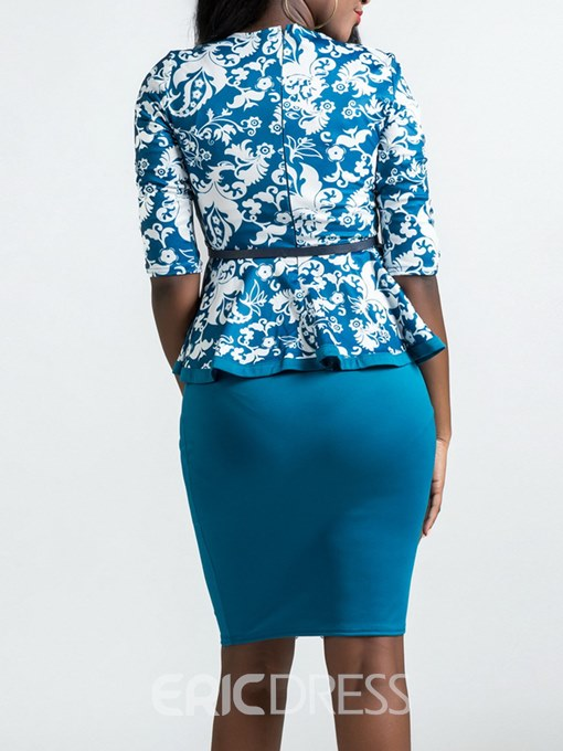 Ericdress Floral Falbala T-Shirt and Skirt Women's Two-Piece Suit