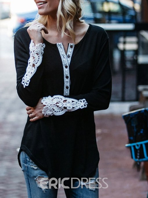 Ericdress Scoop Patchwork Lace Long Sleeve T-shirt