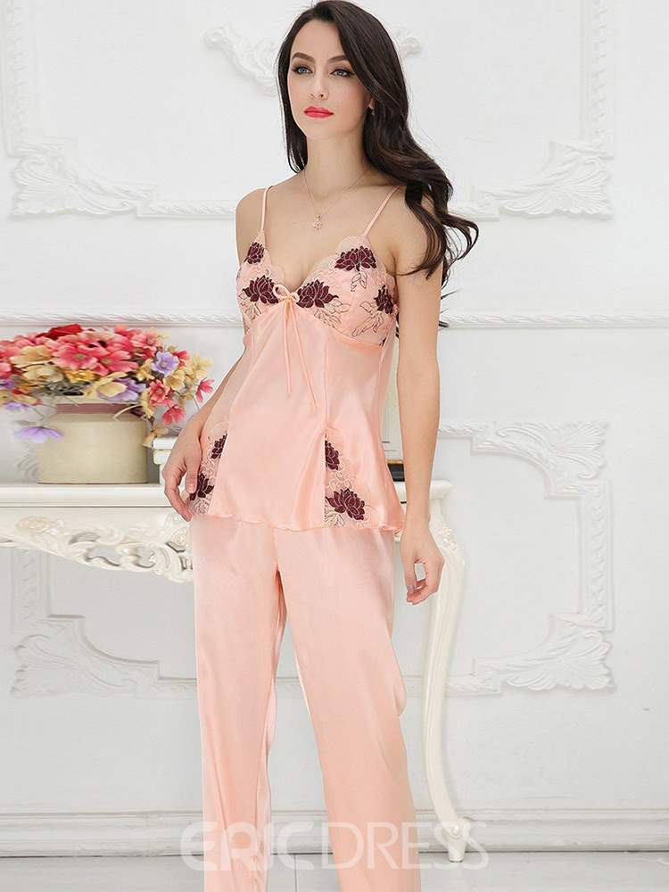 Ericdress Women's Embroidery V-Neck Pajamas Set 3 Pieces