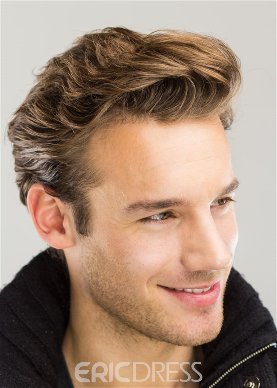 Ericdress Wavy Brush Up Hairstyle Human Hair Full Lace Men's Wig
