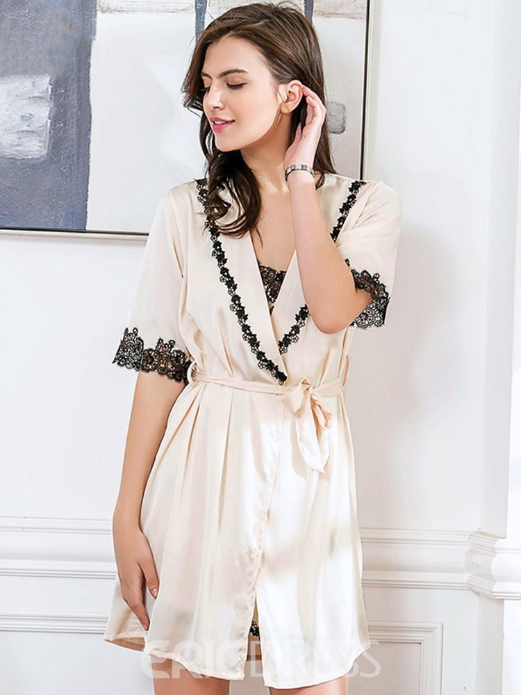Ericdress V-Neck Plain Lace Robe and Nightgown