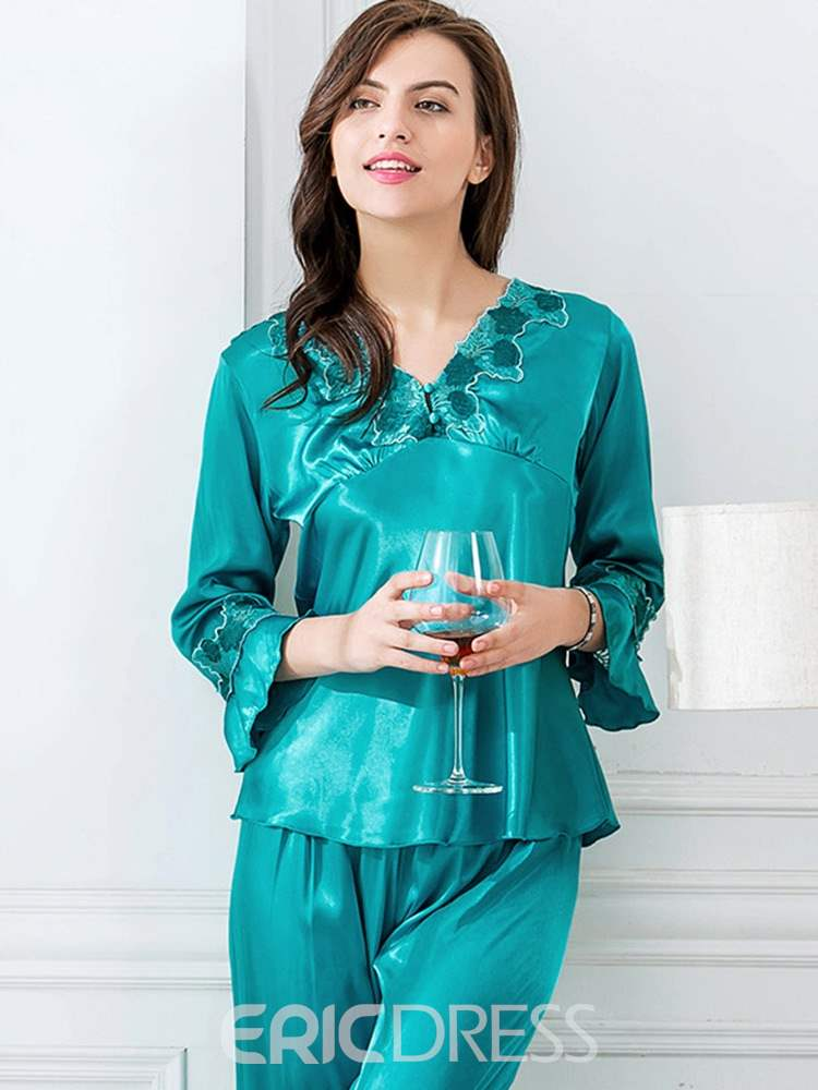 Ericdress V-Neck Print Floral Long Pajama Suit for Women