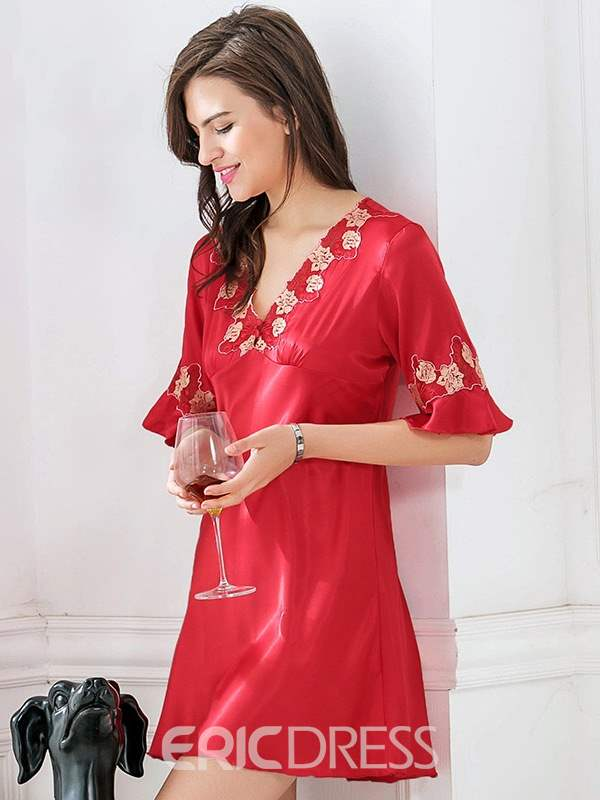 Ericdress V-Neck Flare Sleeve Floral Above Knee Nightgown