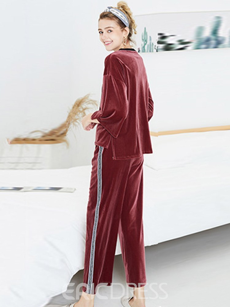 Ericdress Letter Pullover Casual Loose Long Pajamas Set
