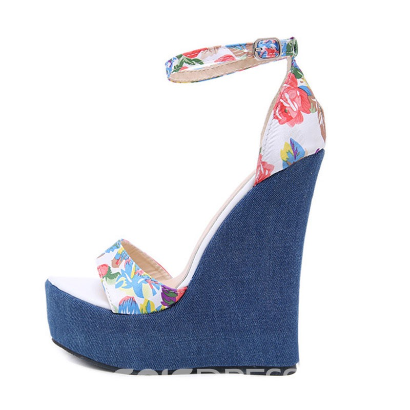 Ericdress Floral Line-Style Buckle Wedge Heel Women's Sandals