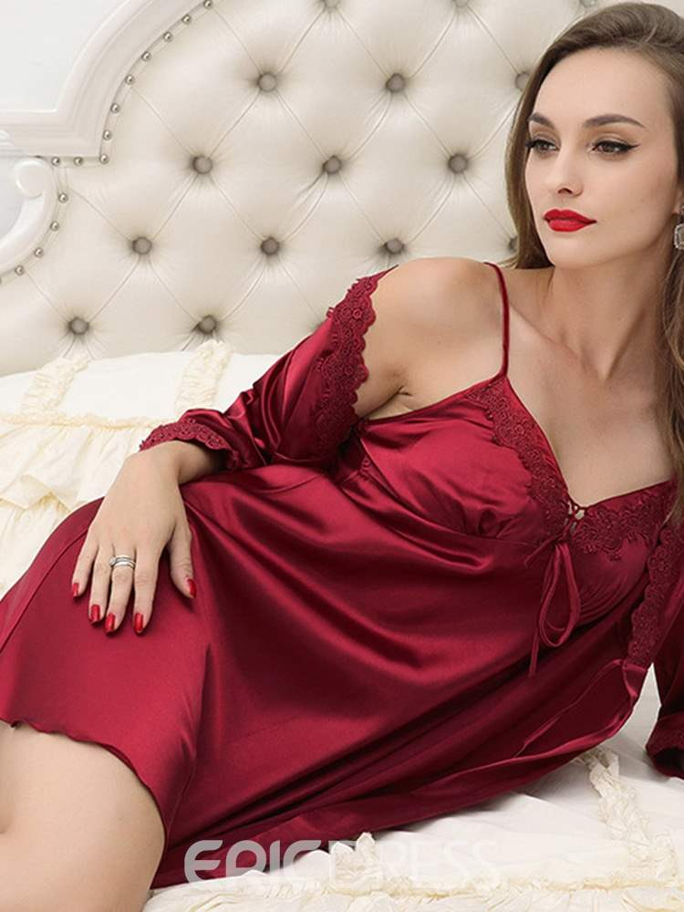 Ericdress Deep-V Lace-Up Lace Sleepwear 2 Pieces
