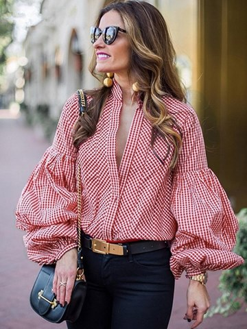 Ericdress Gingham Button-Down Puff Long Sleeve Blouse