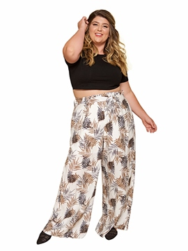 Ericdress Loose Print Plant Wide Legs Full Length Casual Pants