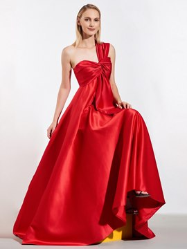Ericdress A Line One Shoulder Pleats Red Prom Dress