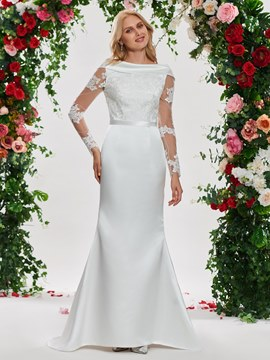 Ericdress Appliques Long Sleeves Backless Mermaid Wedding Dress