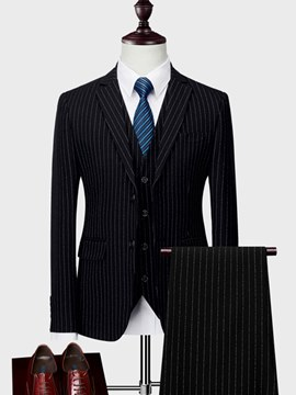 Ericdress Vertical Striped 3 Pieces Mens Casual Business Suits
