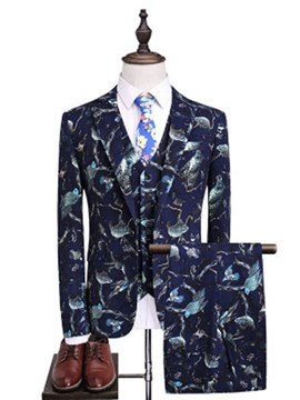 Ericdress Birds Printed Mens Casual 3 Pieces Ball Suits