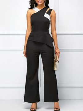 Ericdress Asymmetric Patchwork Plain Women's Jumpsuits