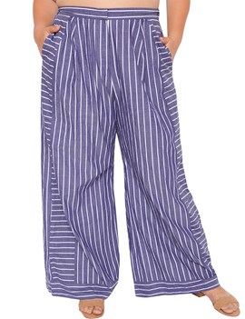 Ericdress Loose Print Stripe Wide Legs Full Length Casual Pants