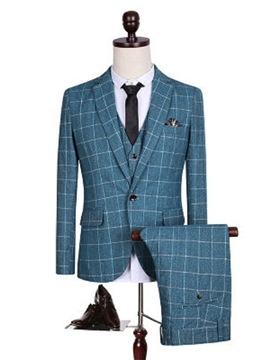 Ericdress Plaid Notched Lapel Three-Piece Slim Men's Suit