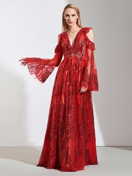 Ericdress A Line Long Sleeve Sequin Red Evening Dress