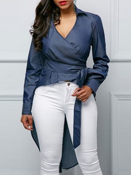 Ericdress Asymmetric Plain Lace-Up V-Neck Long Sleeve Blouse