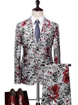 Ericdress Floral Print Blazer Pants Mens Casual Ball Suits