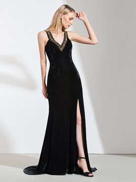 Ericdress V Neck Beaded Side Slit Black Mermaid Evening Dress