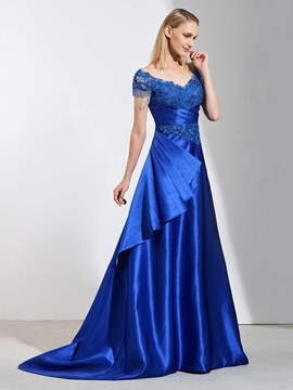 Ericdress A Line Short Sleeve Beaded Long Evening Dress