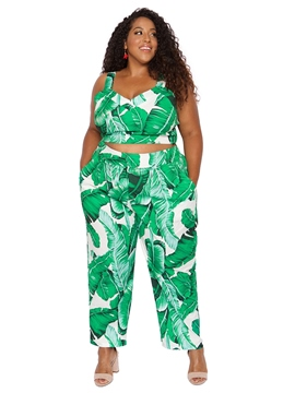 Ericdress Slim Plant Print Pencil Pants Full Length Casual Pants