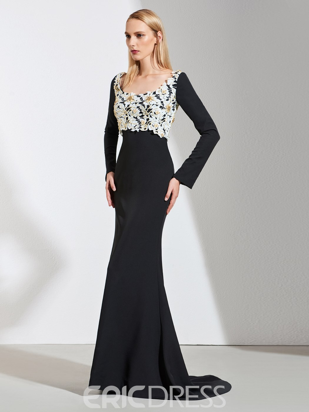 Ericdress Long Sleeve Black Mermaid Evening Dress With Beadings